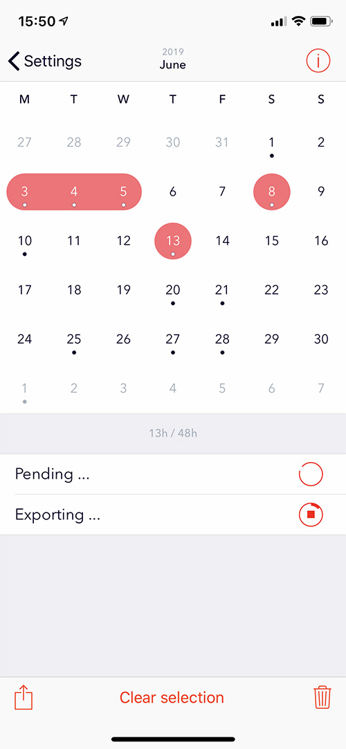 Exporting data with Aidlab iOS app